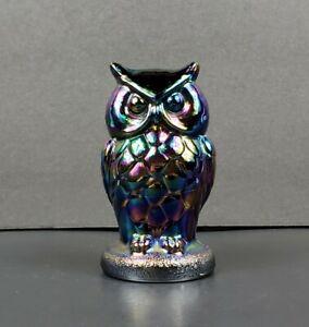 "Mosser Glass 3 7/8"" Owl Figurine Iridescent Carnival EUC"