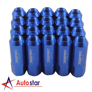 Blue 20PCS Alloy racing Wheel Tuner Lug Nuts Aluminum For Nissan Subaru