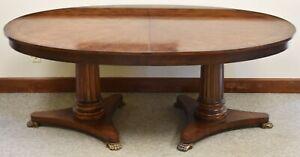 Henredon Empire Style Crotch Mahogany Dining Table Double Pedestal Paw Feet