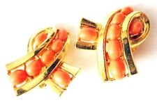 TRIFARI Faux Coral Cabochon Ribbon Loop Earrings Gold Tone Clip On Crown