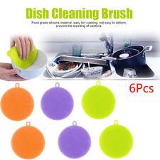 6Stk Silikon Schwamm Scrubber Küche Waschen Haushalt Reinigung Bürste Lappen