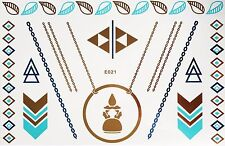 Flash Disposable Temporary Adhesive Tattoo Golden Blue 15 Pieces Body Bracelet
