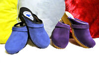 Blue / Black Sole Purple Violet Swedish style clogs classic Leather SUEDE 6-9.5