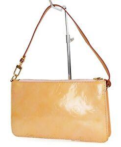 Auth LOUIS VUITTON Lexington Baby Pink (Orange) Vernis Pochette Hand Bag #39092