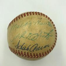 6576c351b3c 1950 s Mickey Mantle Hank Aaron Eddie Mathews Multi Signed AL Baseball JSA  COA