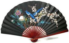 Large Folding Wall Fan Flowers Birds Hand-painted Asian Oriental Decor