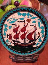 Wall Plate Vintage Brass Enamel Ship Five Sails Colorful