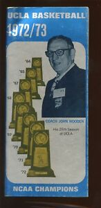 1972/1973 NCAA Basketball Media Guide UCLA With John Wooden Front Cover