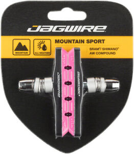 Jagwire Mountain Sport V-Brake Pads Threaded Post Pink All Weather Compound