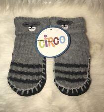 Circo Boy Toddler Gray Black Slipper SOCKS w/Grippers Sz 0-6 Months New