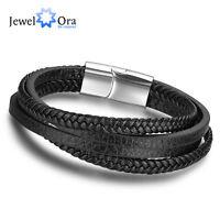 Fashion Stainless Steel Men's String Bracelet Rope Genuine Leather Bracelets