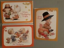 Cute! 3 ⭐Ruth Morehead THANKSGIVING Cards With Envelopes! New