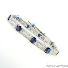Estate 7.10ct Sapphire & Diamond 14kt Gold Bracelet 16.1 Grams