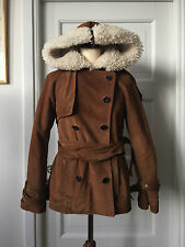 Proenza Schouler Brown Suede Leather And Shearling Lining Coat with Hood Size 4
