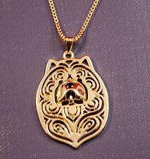 Halskette mit Hunde Kopf Anhänger. Chow-Chow. Gold überzogen