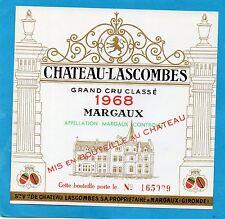 MARGAUX 2E GCC VIEILLE ETIQUETTE CHATEAU LASCOMBES 1968 NUMEROTEE §12/08§