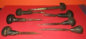 7 ANTIQUE ENGRAVING OR LEATHER TOOL  WOOD HANDLE  USED AS IS