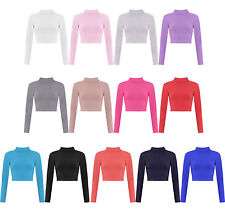 New Womens Turtle Neck Crop Basic Long Sleeve TShirt Ladies Short Plain Top 8-14