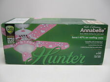 "Hunter Annabelle 44"" Girls Ceiling Fan 5 Blades Pink/White Heart Flowers 21345"