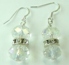 Bridal Wedding Clear Crystal Earrings with Rhinestones Handcrafted Jewelry