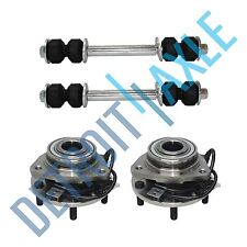 4 pc Kit: 2 New Front Wheel Hub & Bearing Assembly + 2 New Sway Bar Link 4WD ABS