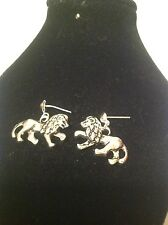 lion stud earrings silver plated