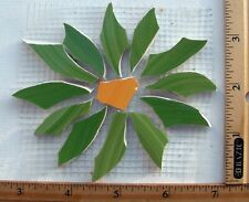 Large Green Aster Daisy Mosaic Tile On Mesh - Broken Cut China Plate Tiles
