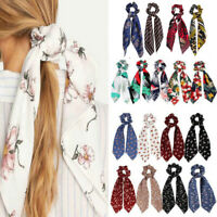 Girls Elastic Fabric Ribbon Bow Hair Tie Rope Women Hair Band Scrunchie Ponytail