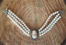 Bracciale stile antico argento 925 oro 9 kt perla cammeo corniola made in italy