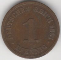 1891 F Germany 1 Pfennig Coin | Pennies2Pounds