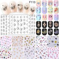 3D Stickers Tips Fleurs Licorne Ongles Vernis Gel Décor Nail Art Colour Manucure