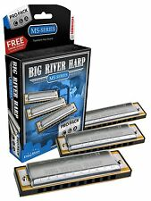 NEW HOHNER 3P590BX BIG RIVER PRO PACK HARMONICA HARP 3 HARPS A,C,G NEW