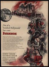 1952 IVANHOE Theater Movie Release - ELIZABETH & ROBERT TAYLOR - Art  VINTAGE AD
