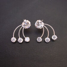Stunning Cubic Zircon Earrings Indian Handmade 925 Sterling Silver Jewelry
