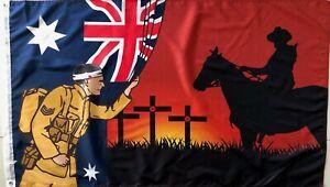 Lest We Forget Flag  Australian War Horse Flag  Remembrance Flag