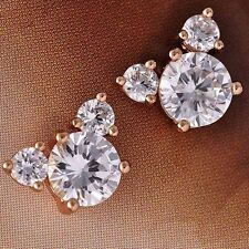 Childrens Crystal Mickey Stud Earrings lot 14k Rose Gold Plated Butterfly Backs