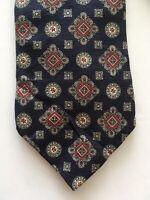 Vintage Christian Dior Men's Neck Tie Silk Paisley Navy Red Necktie Geometric