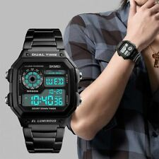SKMEI Black Smart Mens Digital Display Watch Metal Strap Alarm Stopwatch