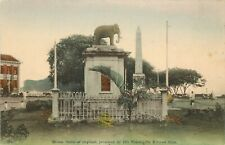 c1910 Postcard; Bronze Statue of Elephant Presented by King of Siam, Singapore