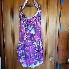 Size 2XL APPLE BOTTOMS Purple & Blue Backless Romper - Shorts, Halter, Pockets