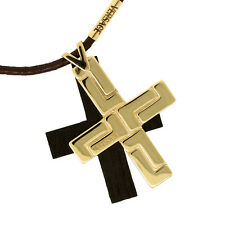 """Versace 18K Yellow Gold & Black Cross Pendant Leather Cord Necklace 17.5"""""""