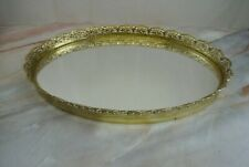 """Vintage Ormulu Gold Accents Oval Vanity Tray Mirror, Home Decor 14-1/8"""""""