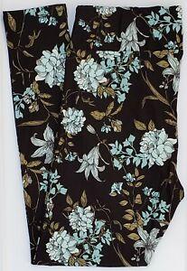 TC2 LuLaRoe Tall Curvy2 Leggings Floral Mixed Flowers Black Blue Olive Green G06