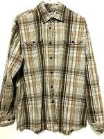 Wrangler Mens Long Sleeve Button Up Plaid Dress Shirt Brown Orange Size XL