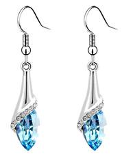 Women Teardrop Shaped Long Dangle Earring White Gold Plated w/ Swarovski Crystal