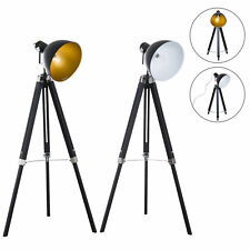 Tripod Floor Lamp Retro Studio Lampshade Reading Light Wooden Legs Adjustable