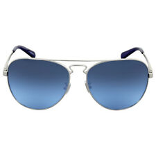 Coach Grey Blue Gradient Metal Aviator Sunglasses