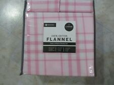 Member's Mark 100% Cotton Flannel Sheet Set Twin Size Pink Plaid