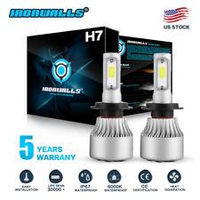 Pair H7 LED Headlight Bulb Conversion Kit High Low Beam Fog Lamp 6000K White HID