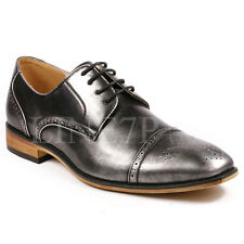 Men's Cap Toe Perforated Lace Up Fashion Oxford Dress Shoes
